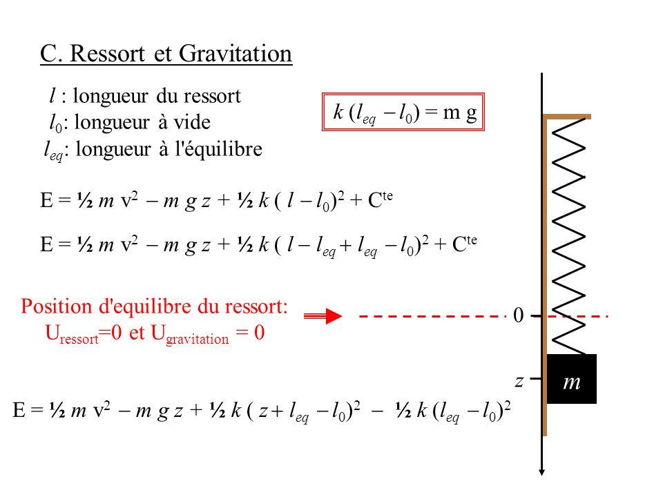 Position d equilibre du ressort: Uressort=0 et Ugravitation = 0