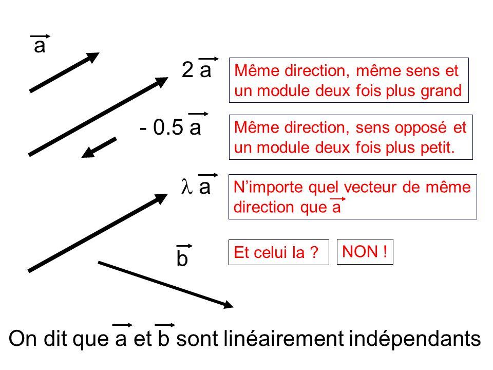 On dit que a et b sont linéairement indépendants