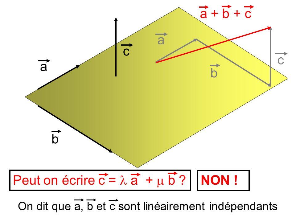 a + b + c a c c a b b Peut on écrire c = l a + m b NON !