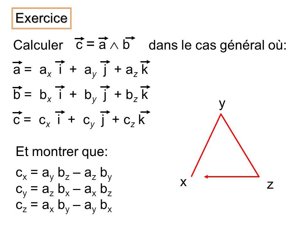 Exercice c = a  b. Calculer. dans le cas général où: a = ax i + ay j + az k. b = bx i + by j + bz k.