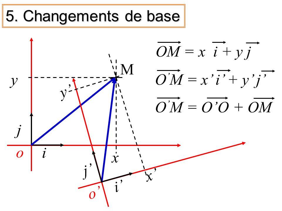 5. Changements de base o. OM = x i + y j. x' y' x. y. M. O'M = x' i' + y' j' o' O'M = O'O + OM.