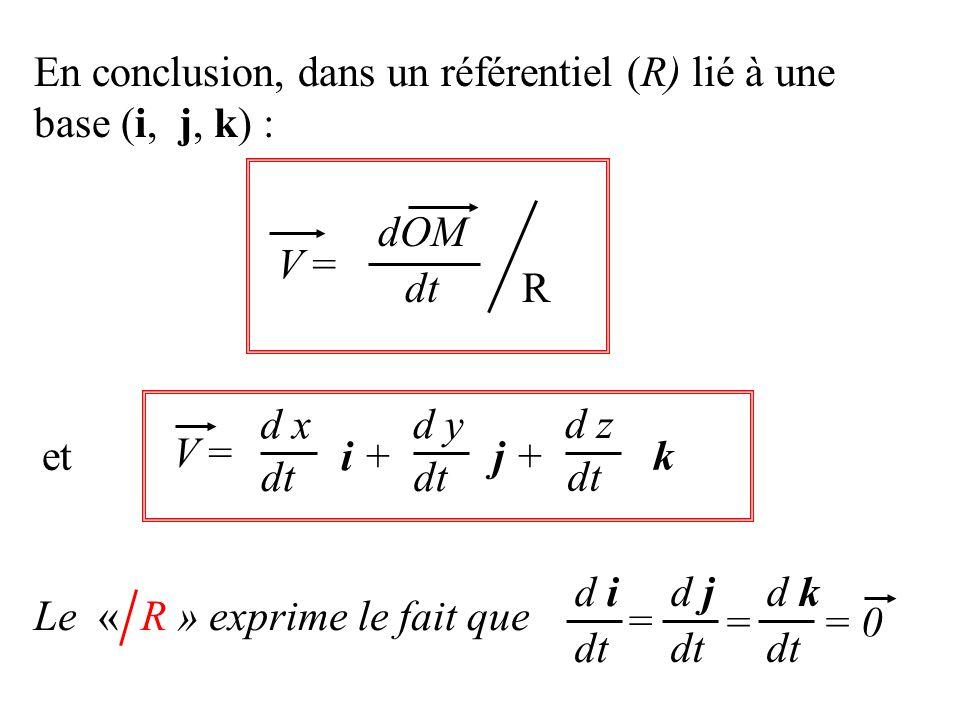 En conclusion, dans un référentiel (R) lié à une base (i, j, k) :