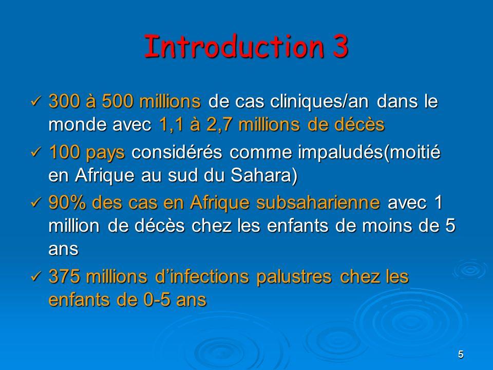 Introduction 3 300 à 500 millions de cas cliniques/an dans le monde avec 1,1 à 2,7 millions de décès.