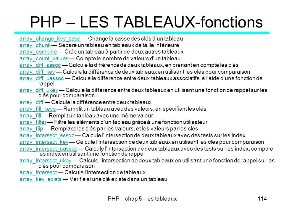 PHP – LES TABLEAUX-fonctions