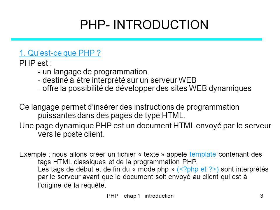 PHP- INTRODUCTION 1. Qu'est-ce que PHP