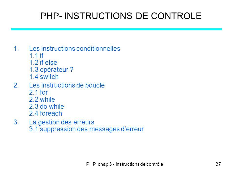 PHP- INSTRUCTIONS DE CONTROLE