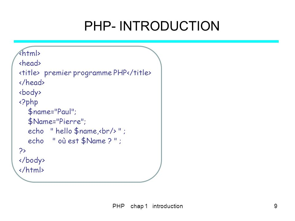 PHP- INTRODUCTION <html> <head>