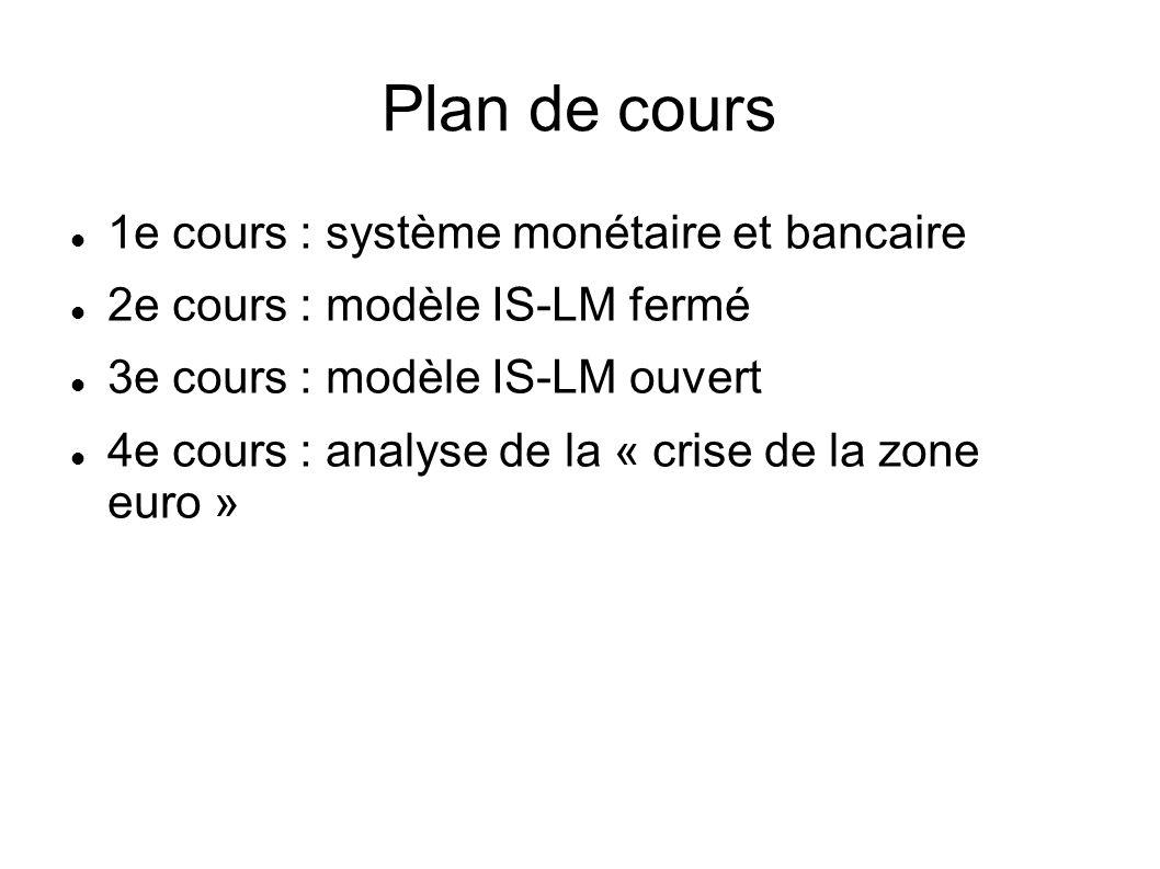 Plan de cours 1e cours : système monétaire et bancaire