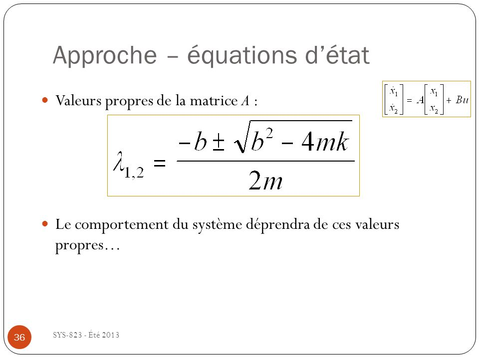 Approche – équations d'état