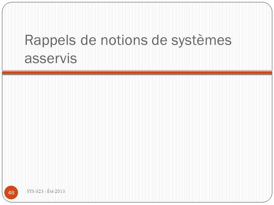 Rappels de notions de systèmes asservis