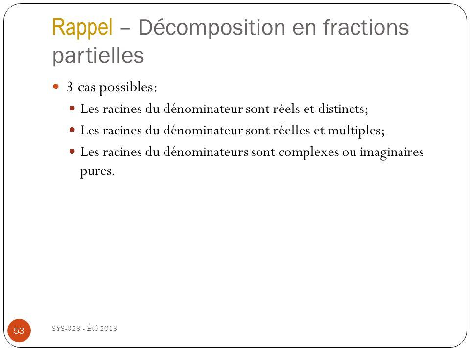 Rappel – Décomposition en fractions partielles
