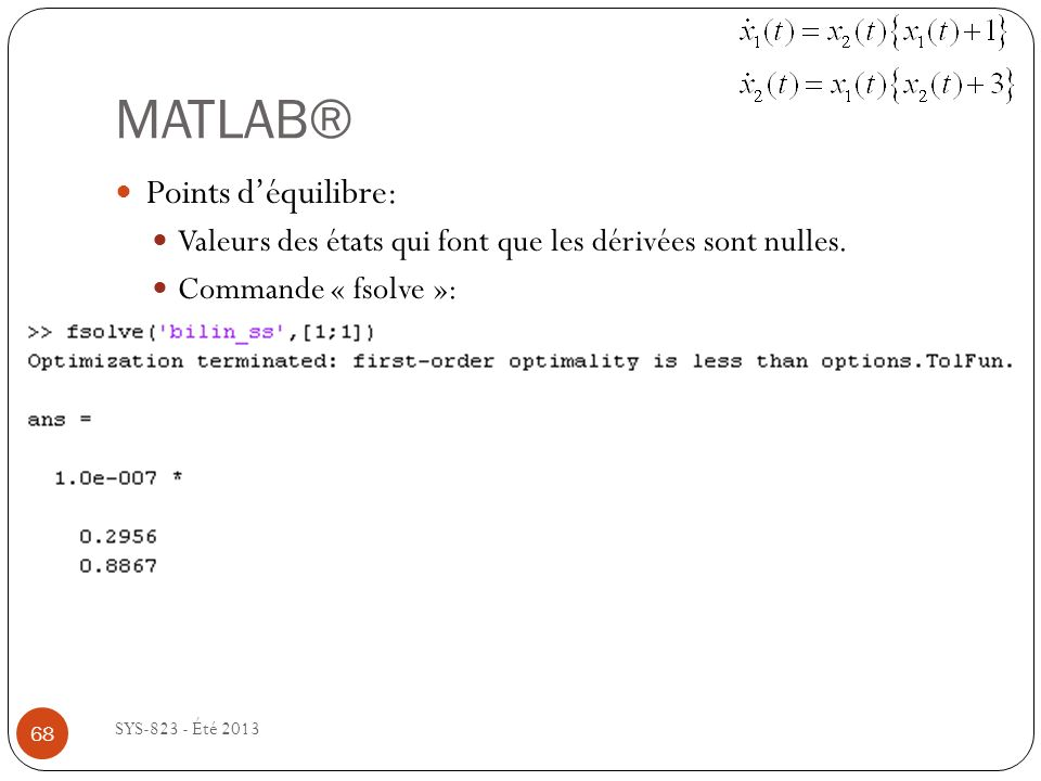 MATLAB® Points d'équilibre: