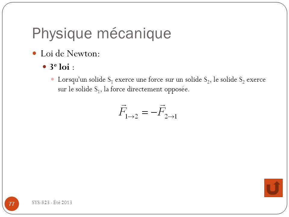 Physique mécanique Loi de Newton: 3e loi :