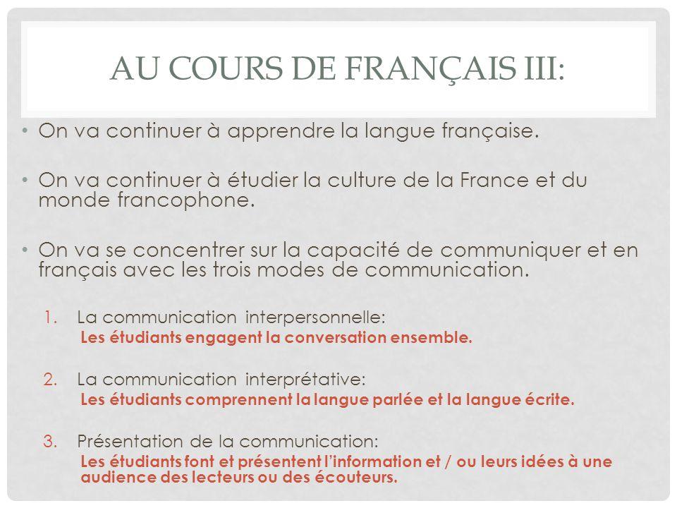 Au cours de Français III: