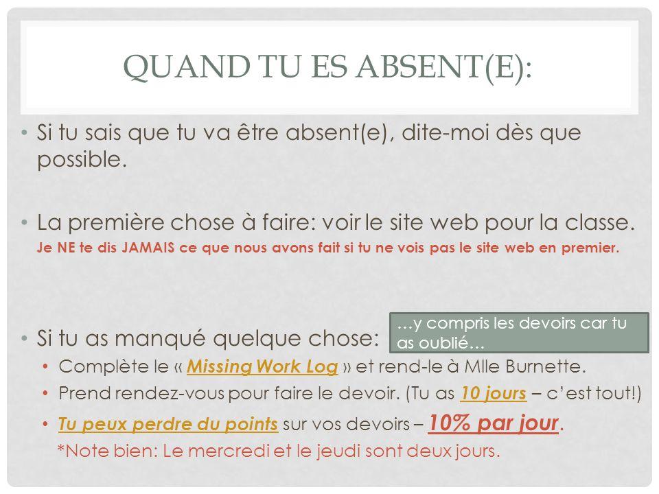 Quand tu es absent(e): Si tu sais que tu va être absent(e), dite-moi dès que possible. La première chose à faire: voir le site web pour la classe.