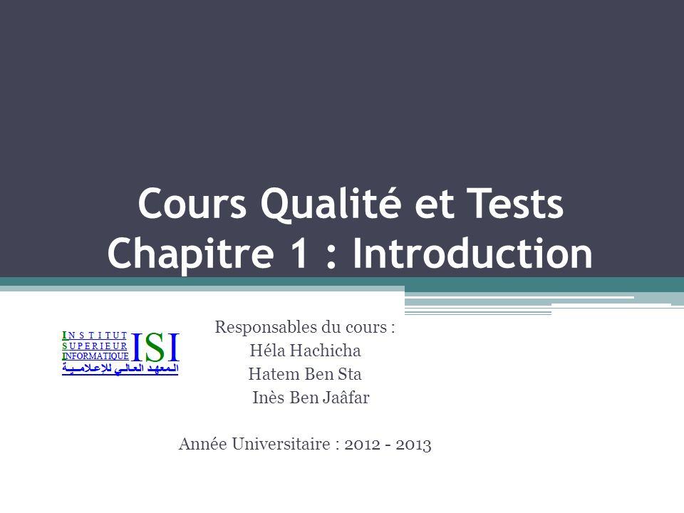 Cours Qualité et Tests Chapitre 1 : Introduction