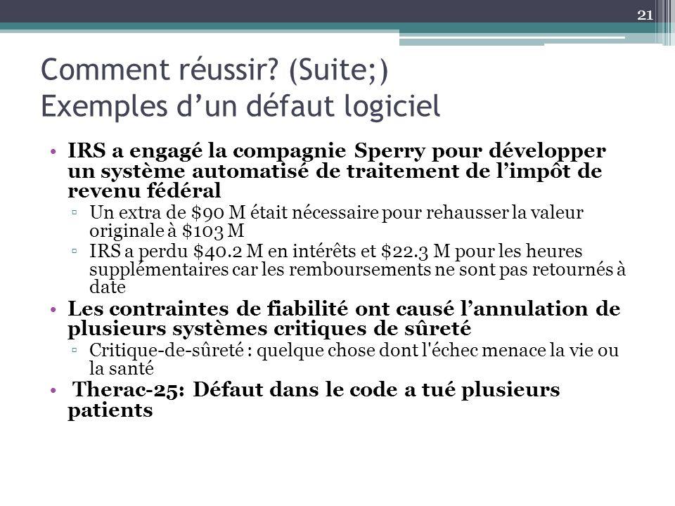 Comment réussir (Suite;) Exemples d'un défaut logiciel