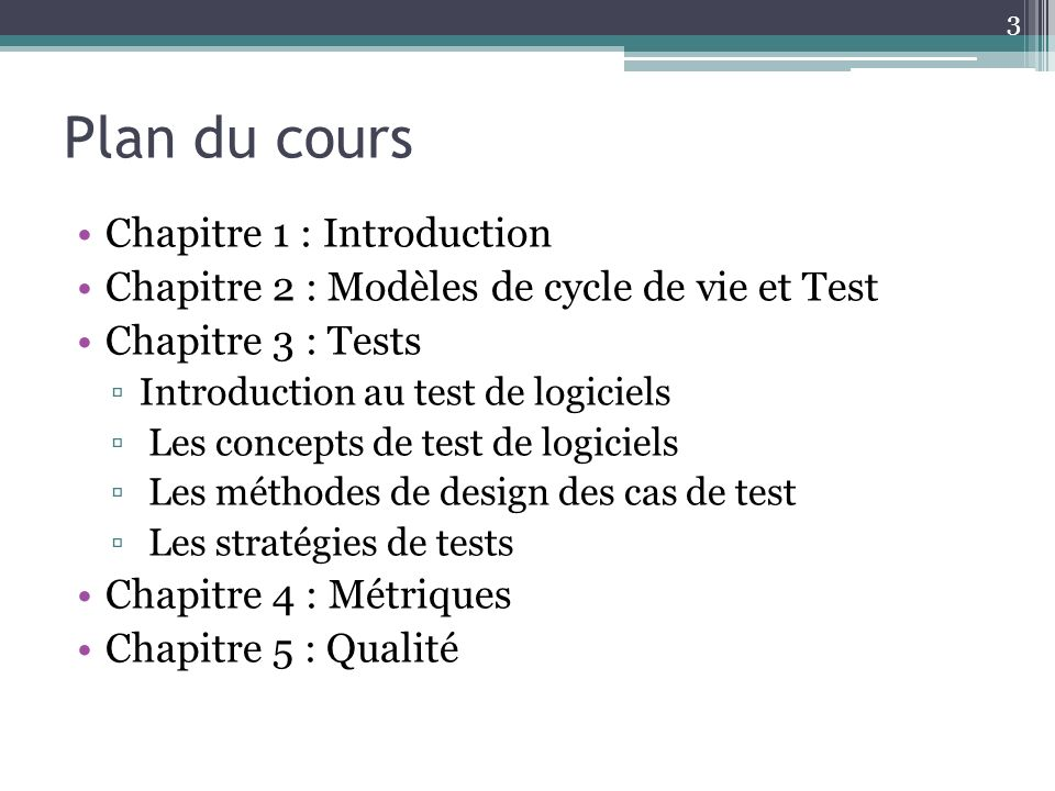 Plan du cours Chapitre 1 : Introduction
