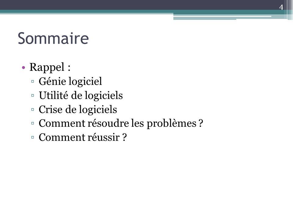 Sommaire Rappel : Génie logiciel Utilité de logiciels