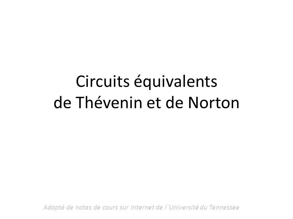 Circuits équivalents de Thévenin et de Norton
