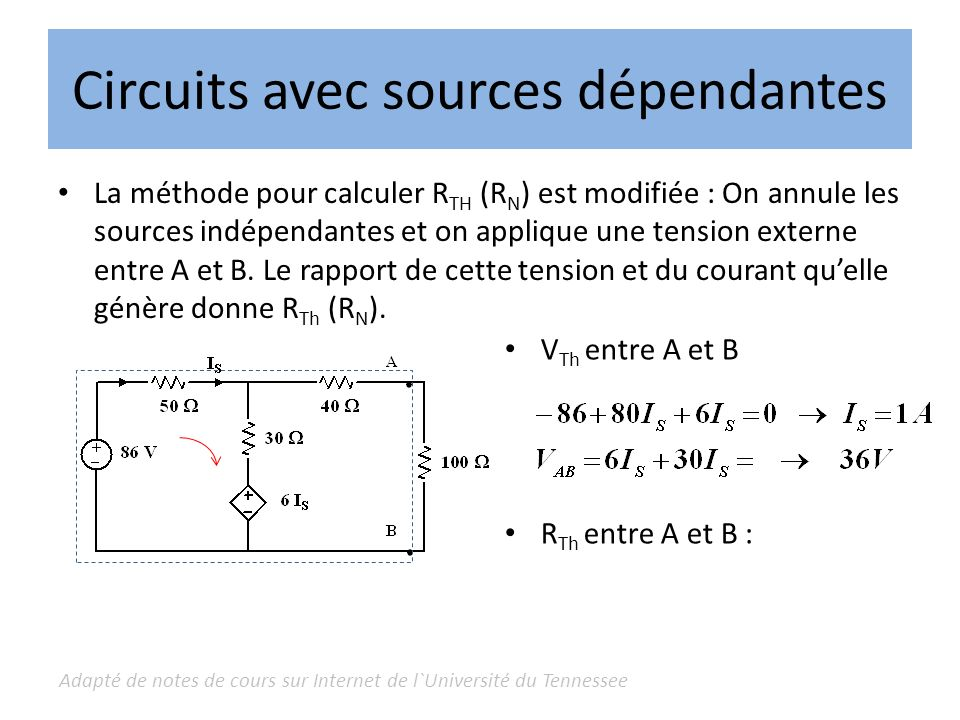 Circuits avec sources dépendantes