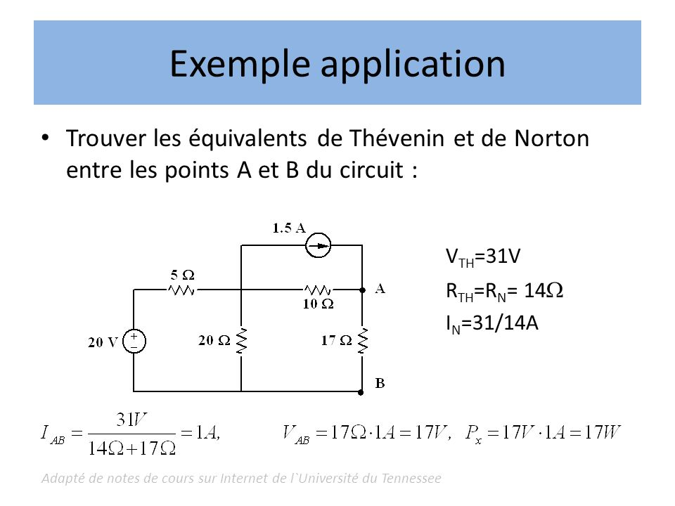 Exemple application VTH=31V