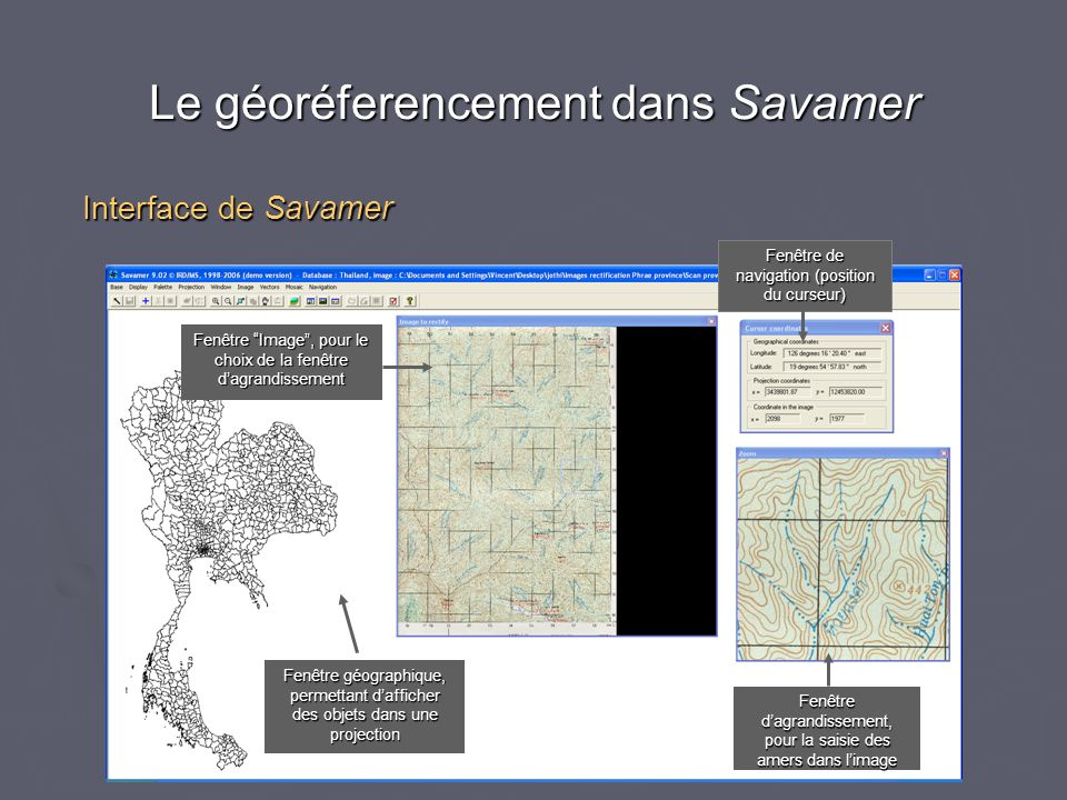 Le géoréferencement dans Savamer