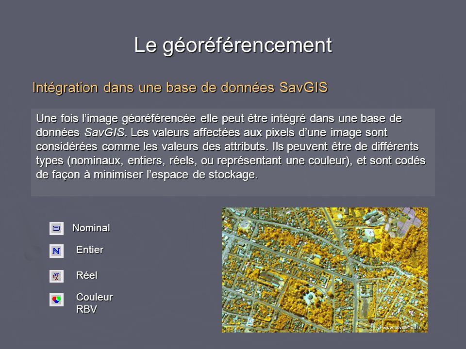 Le géoréférencement Intégration dans une base de données SavGIS
