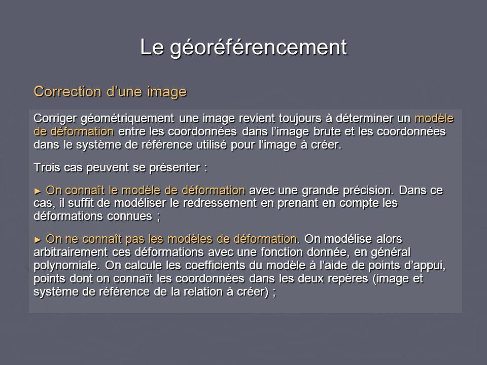 Le géoréférencement Correction d'une image