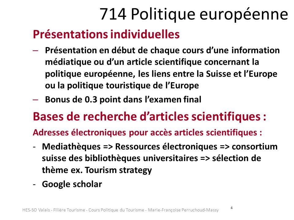 714 Politique européenne Présentations individuelles