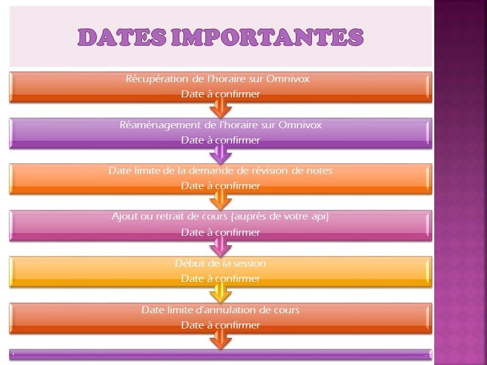 DATES IMPORTANTES Récupération de l'horaire sur Omnivox