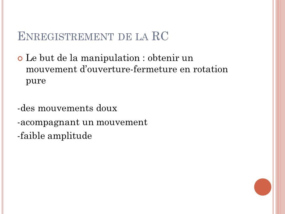 Enregistrement de la RC