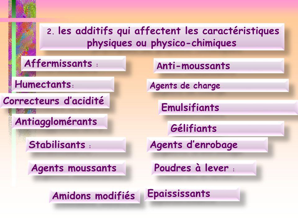 Correcteurs d'acidité Emulsifiants Antiagglomérants Gélifiants