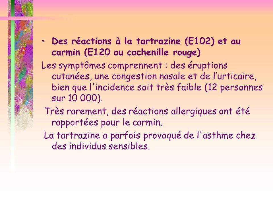 Des réactions à la tartrazine (E102) et au carmin (E120 ou cochenille rouge)
