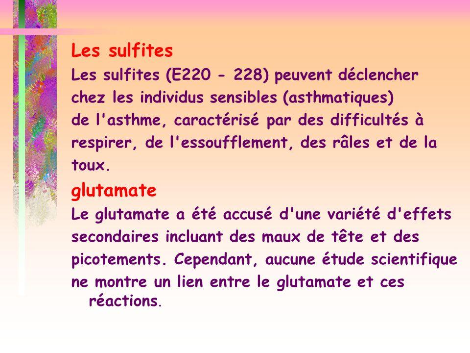 Les sulfites glutamate Les sulfites (E220 - 228) peuvent déclencher