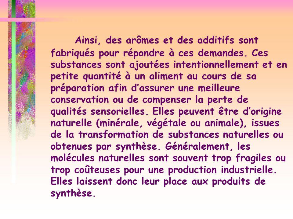 Ainsi, des arômes et des additifs sont fabriqués pour répondre à ces demandes.