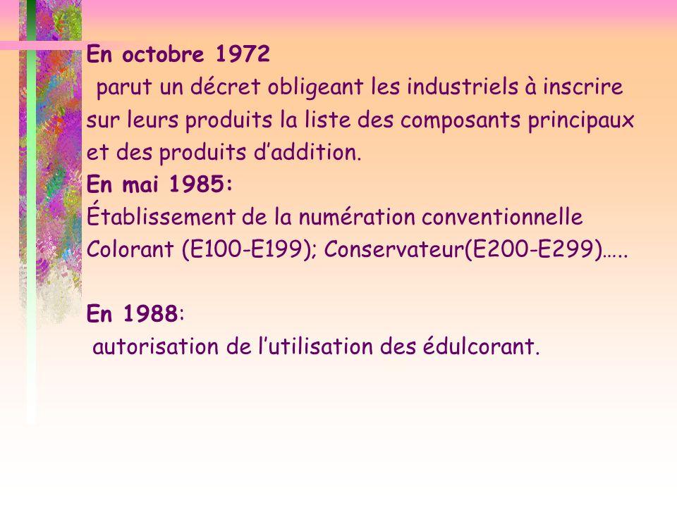 En octobre 1972 parut un décret obligeant les industriels à inscrire sur leurs produits la liste des composants principaux et des produits d'addition.