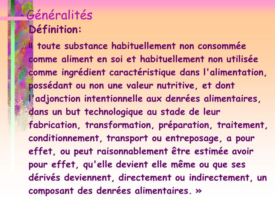 Généralités Définition: « toute substance habituellement non consommée