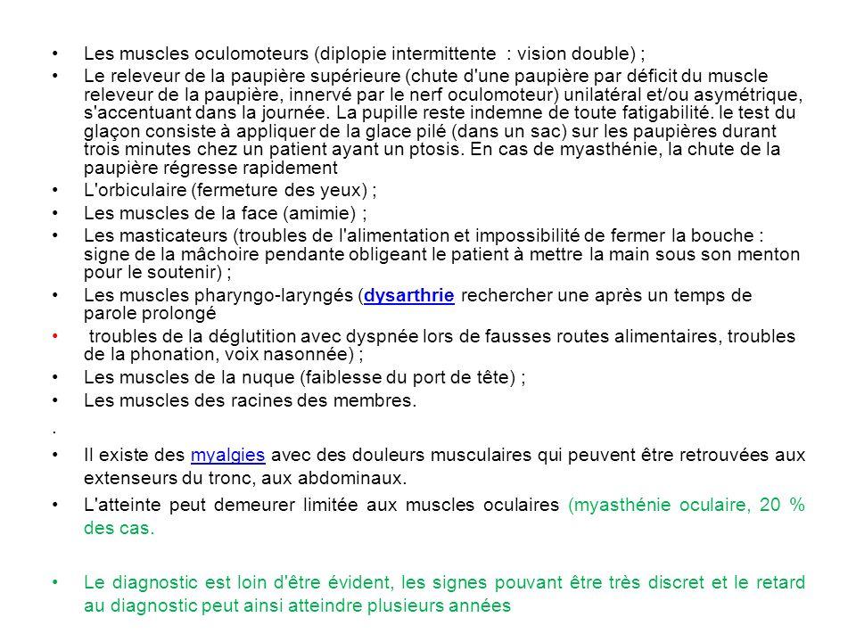 Les muscles oculomoteurs (diplopie intermittente : vision double) ;