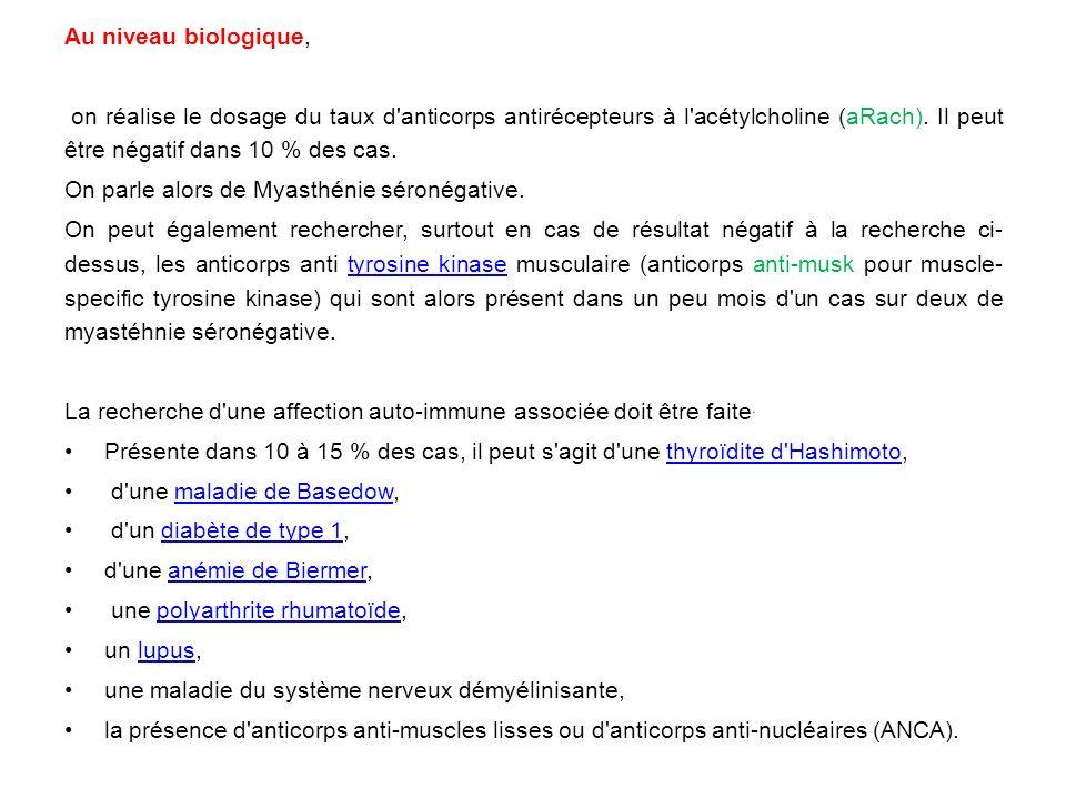Au niveau biologique, on réalise le dosage du taux d anticorps antirécepteurs à l acétylcholine (aRach). Il peut être négatif dans 10 % des cas.
