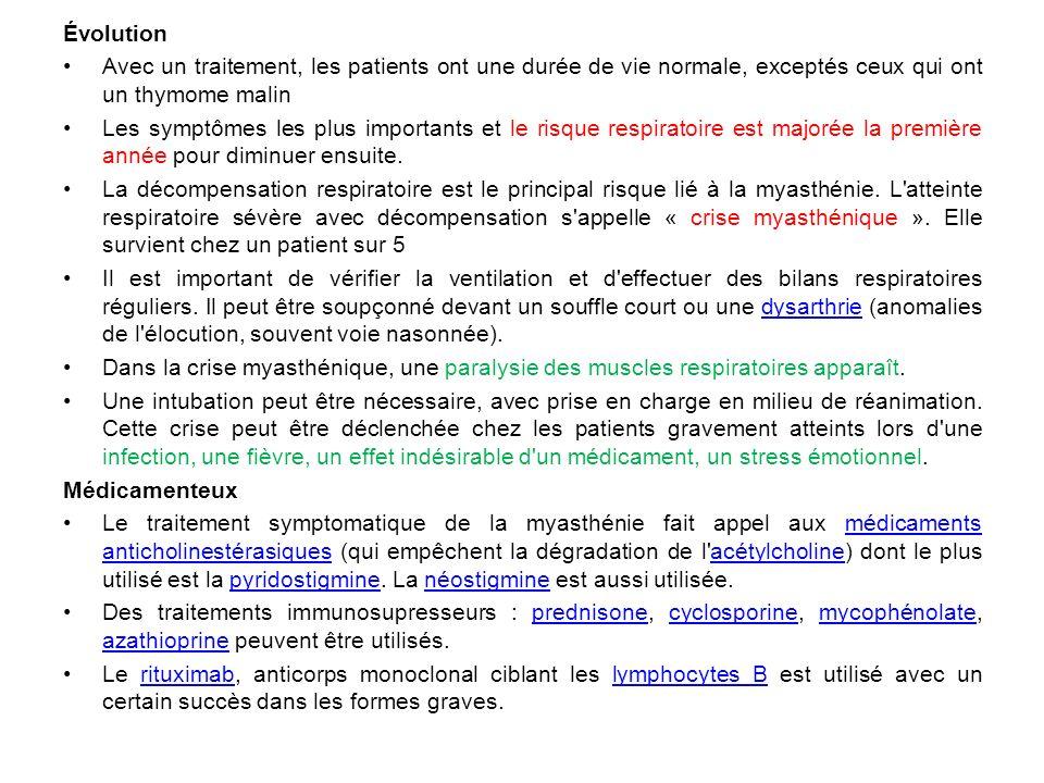 Évolution Avec un traitement, les patients ont une durée de vie normale, exceptés ceux qui ont un thymome malin.
