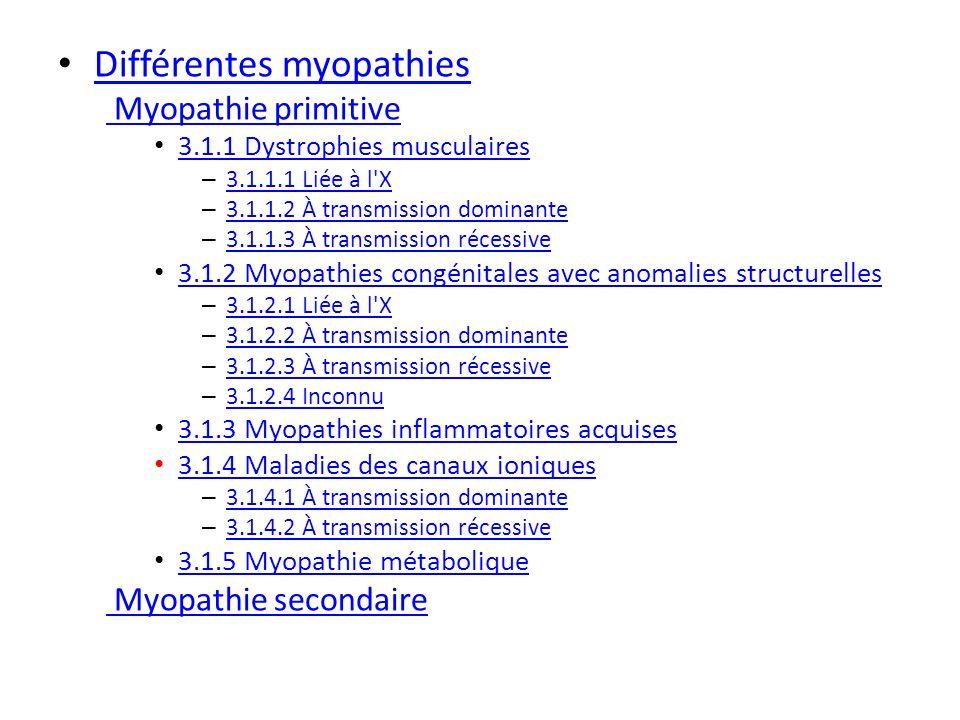 Différentes myopathies