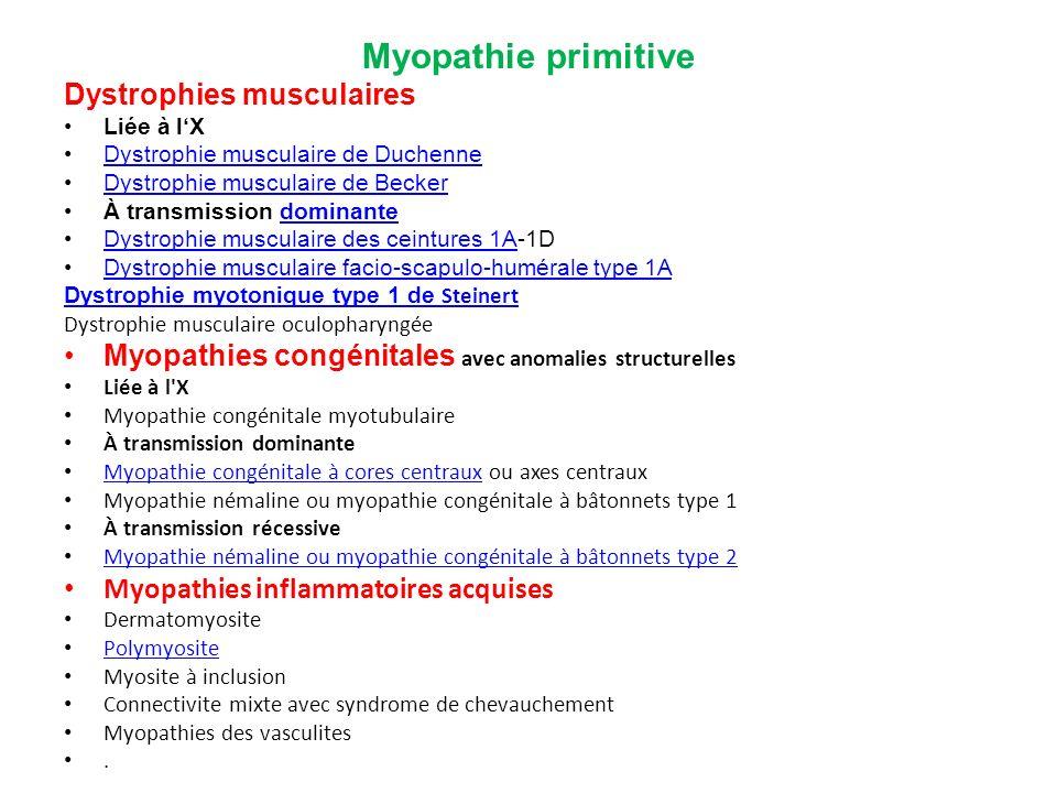 Myopathie primitive Dystrophies musculaires