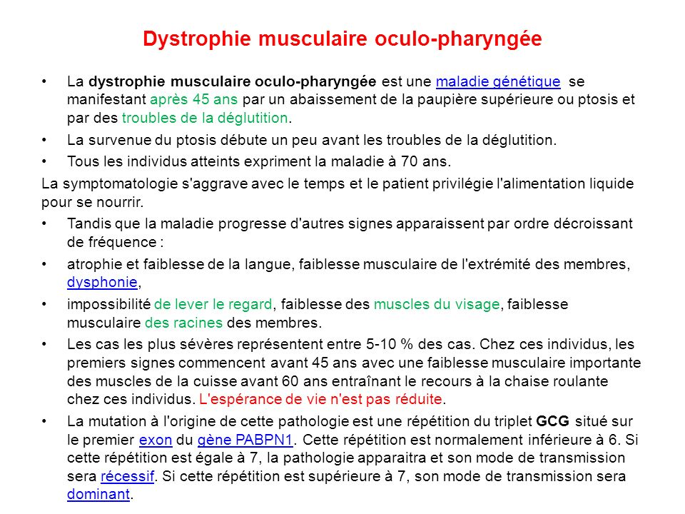 Dystrophie musculaire oculo-pharyngée