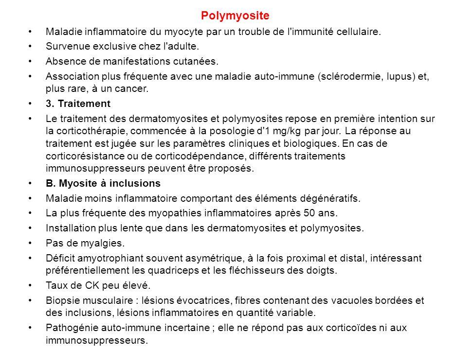 Polymyosite Maladie inflammatoire du myocyte par un trouble de l immunité cellulaire. Survenue exclusive chez l adulte.