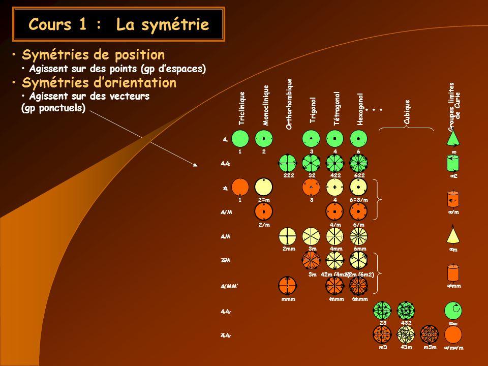 Cours 1 : La symétrie ... Symétries de position
