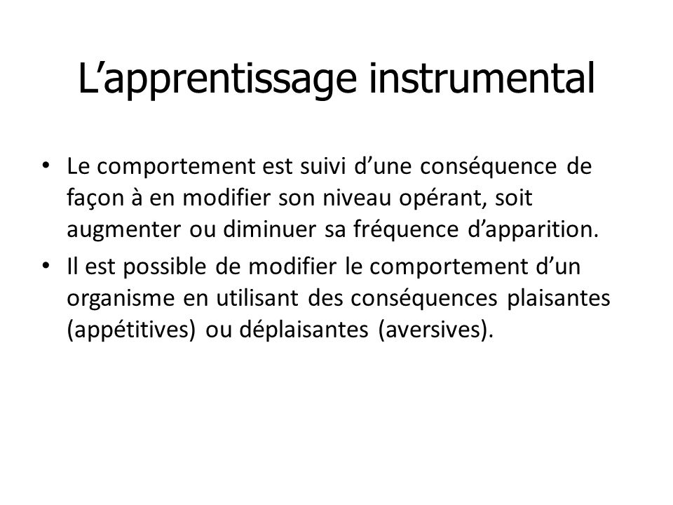 L'apprentissage instrumental