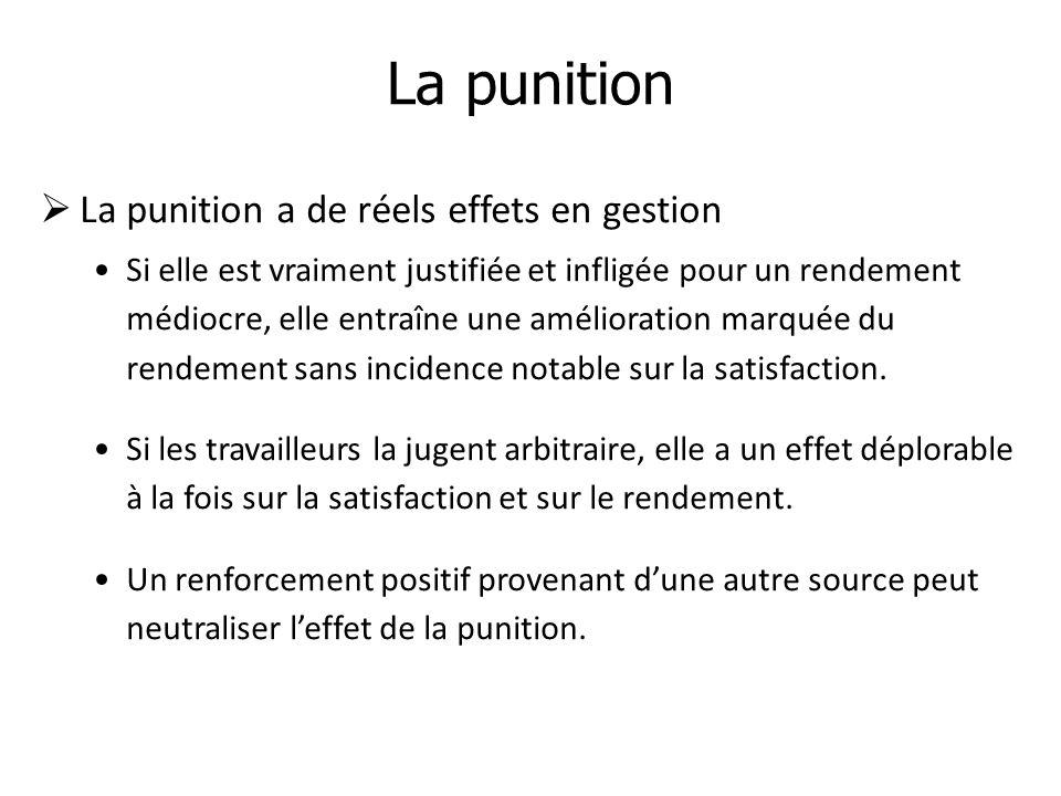 La punition La punition a de réels effets en gestion