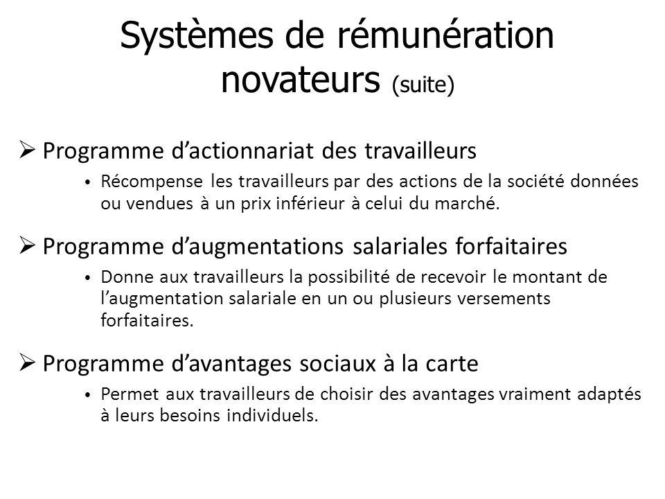 Systèmes de rémunération novateurs (suite)