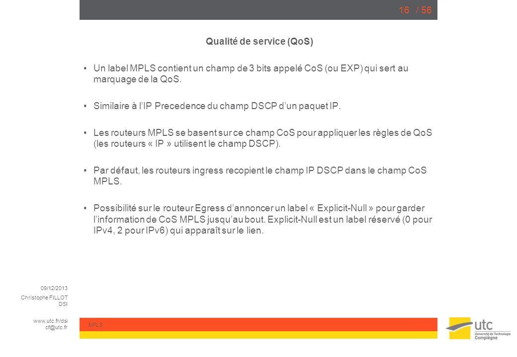 Qualité de service (QoS)